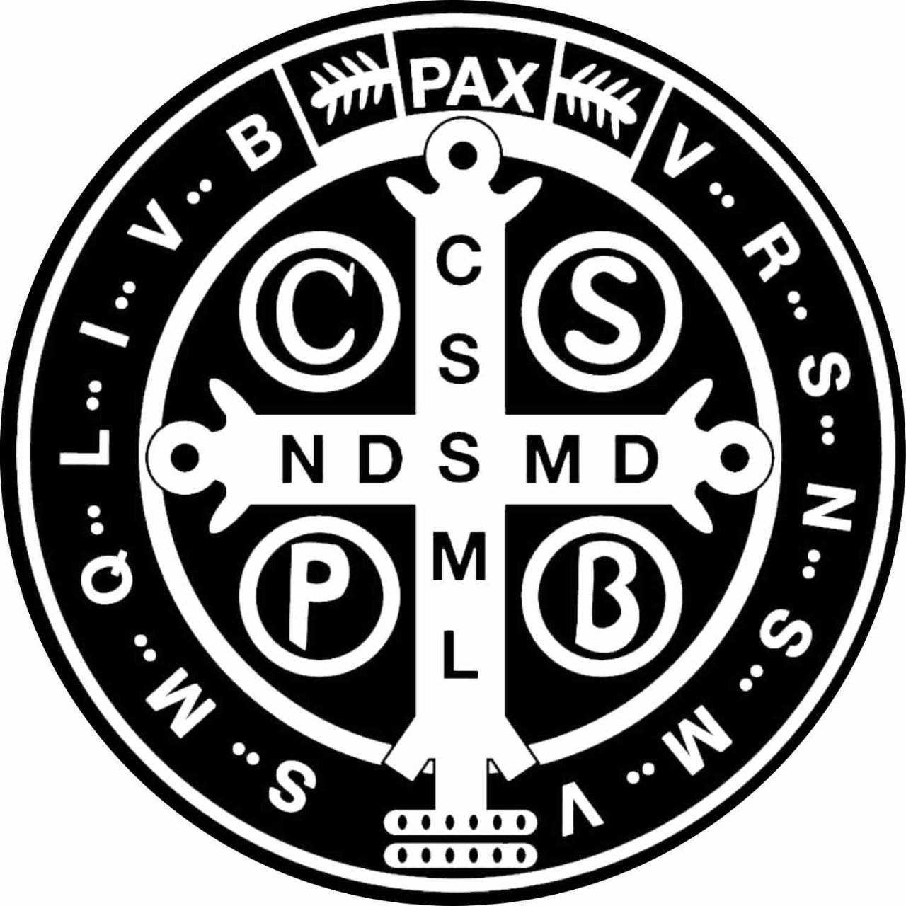 Adesivo Medalha de São Bento preto e branco P - 6un