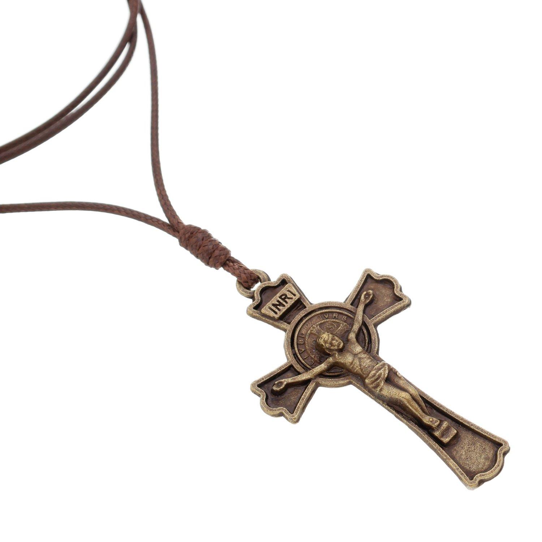 Cordão crucifixo de São Bento - ouro velho
