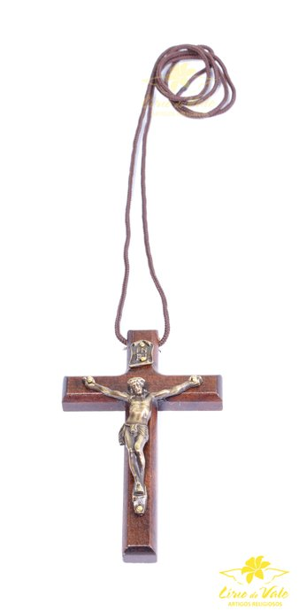 Cordão com crucifixo de madeira verniz fosco - 9cm