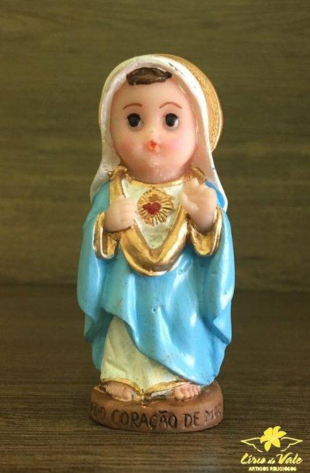 Imagem Sagrado Coração de Maria infantil em resina - 8cm