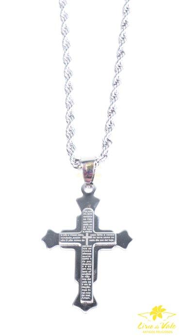 Colar Crucifixo 3D em inox
