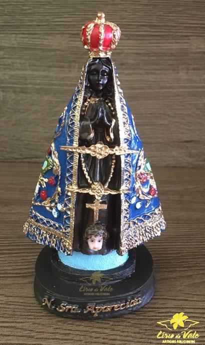 Imagem Nossa Senhora Aparecida com bandeira em resina - 12cm