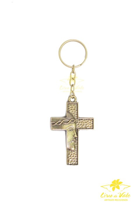 Chaviro crucifixo Face de Cristo - Ouro velho