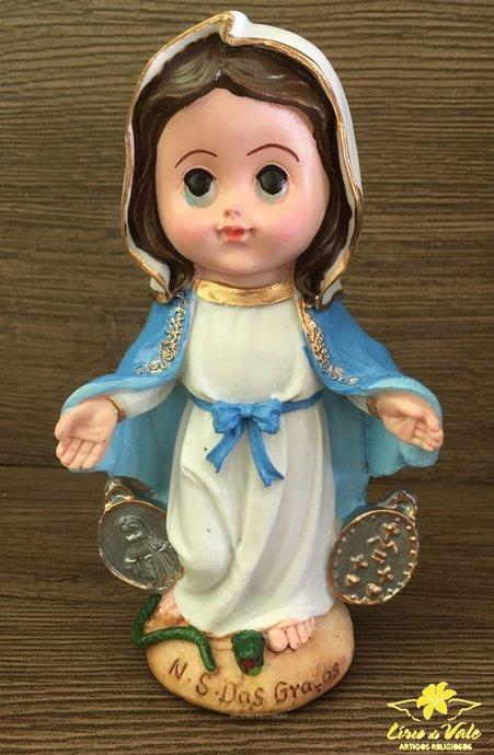 Imagem Nossa Senhora das Graças infantil em resina - 15cm