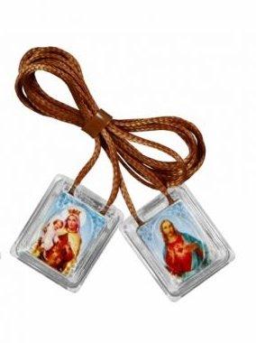 Escapulário Nossa Senhora do Carmo de acrílico - Marrom 10 UN
