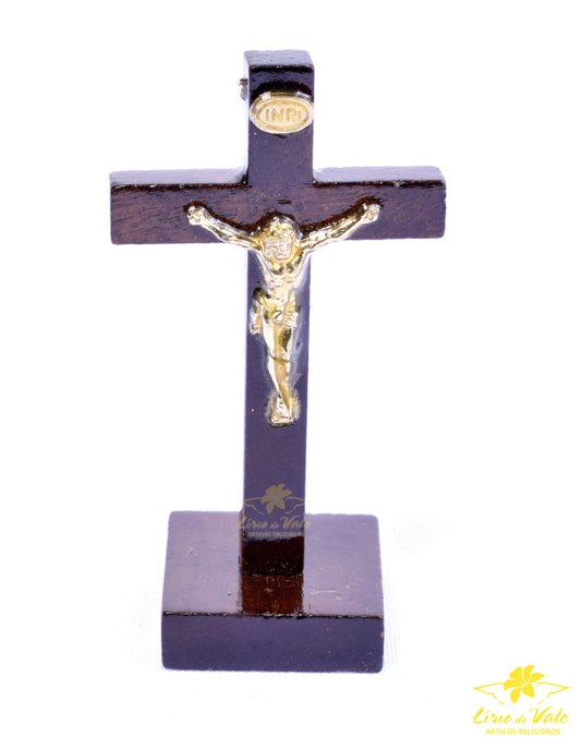 Crucifixo de mesa em madeira com verniz alto brilho - 8,5cm