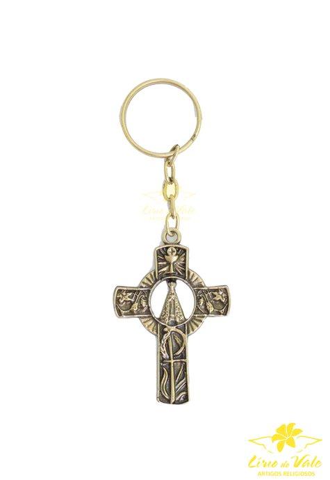 Chaveiro crucifixo Nossa Senhora Aparecida- Ouro velho 12 UN