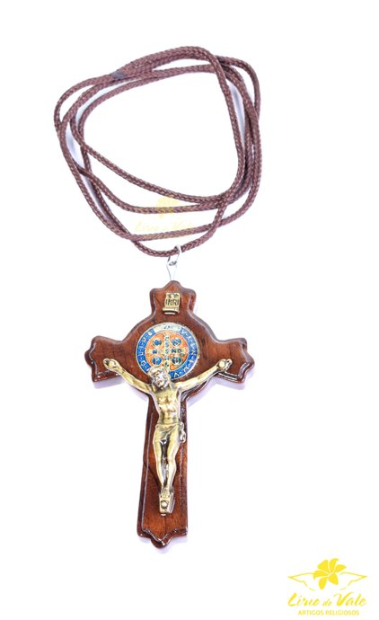 Cordão com Crucifixo de São Bento luxo  - 7,5cm