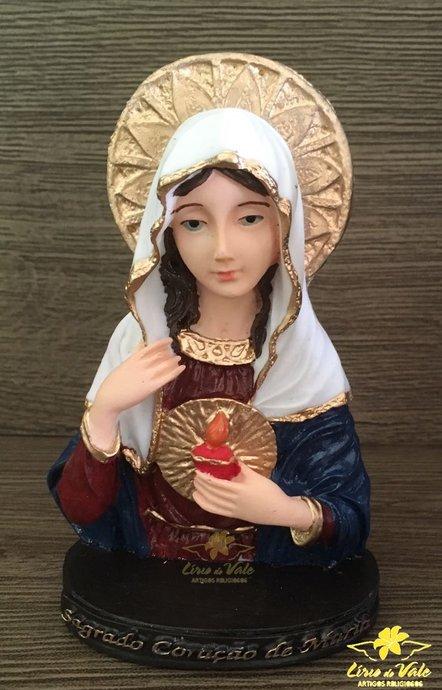Imagem em resina Sagrado Coração de Maria (busto) - 12 cm