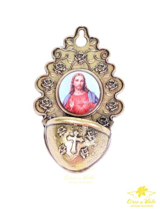 PIA DE ÁGUA BENTA EM OURO VELHO - SAGRADO CORAÇÃO DE JESUS