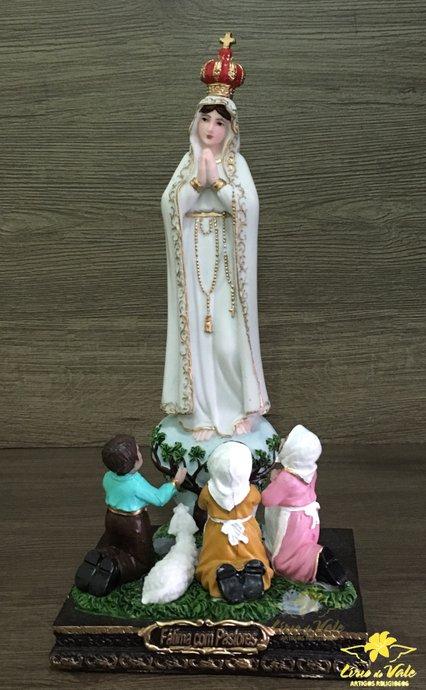 Imagem Nossa Senhora de Fátima com Pastores em resina - 24cm