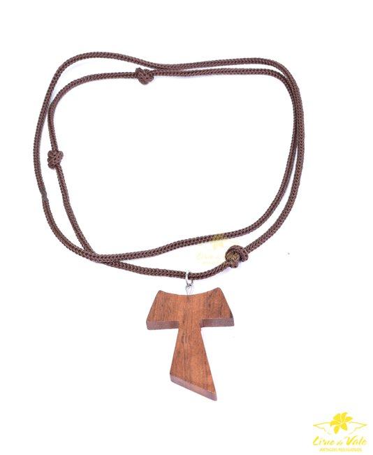 Cordão Tau de madeira - 4cm