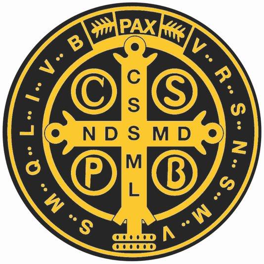 Adesivo Medalha de São Bento preto e amarelo G - 6un