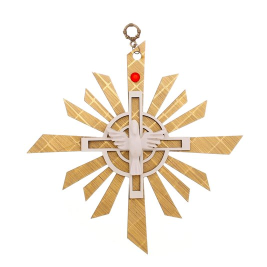Adorno Divino Espírito Santo MDF dourado