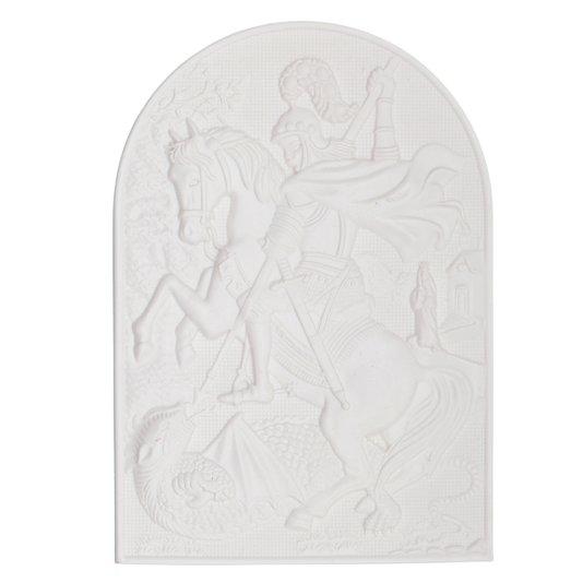 Aplique de São Jorge em resina 8,5x12 cm