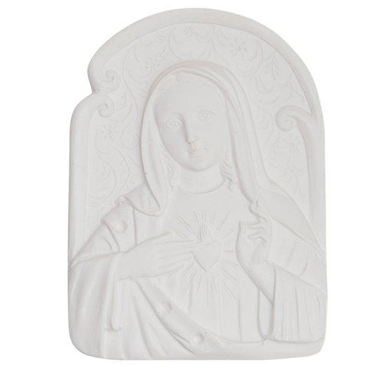 Aplique Imaculado Coração de Maria em resina 9x6,5 cm