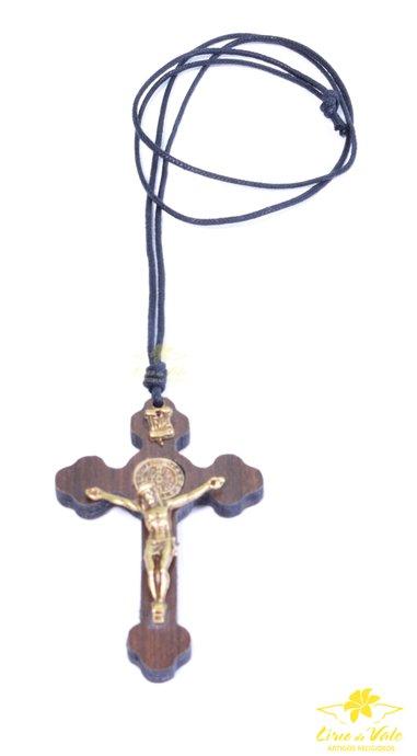 Cordão Crucifixo de São Bento - 8cm