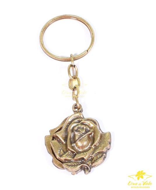 Chaveiro Rosa de São Bento - Ouro velho 12 UN