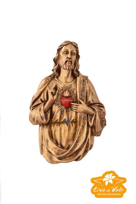 Busto Sagrado Coração de Jesus - Dourado 30cm