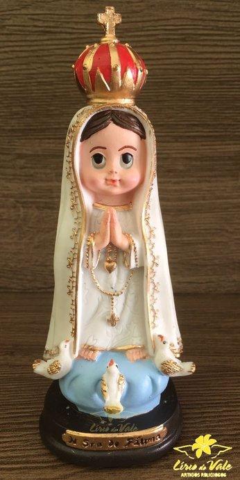 Imagem de Nossa Senhora de Fátima infantil em resina - 15cm