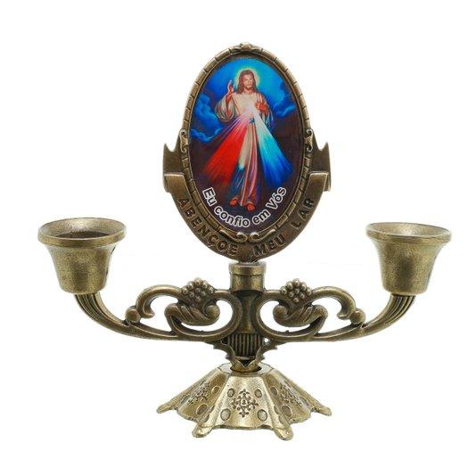 Castiçal  Jesus Misericordioso - Bronze
