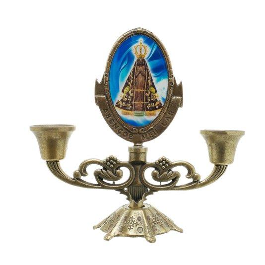 Castiçal Nossa Senhora Aparecida - Bronze
