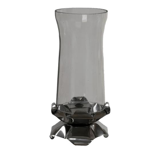 Castiçal de vidro com base de inox