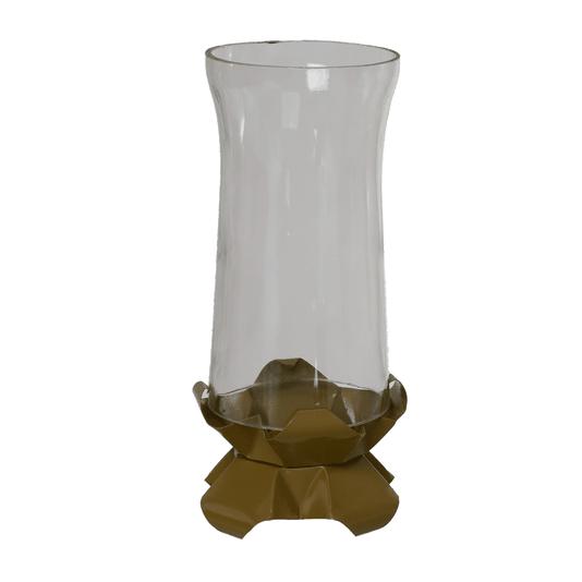 Castiçal de vidro com base dourada em metal