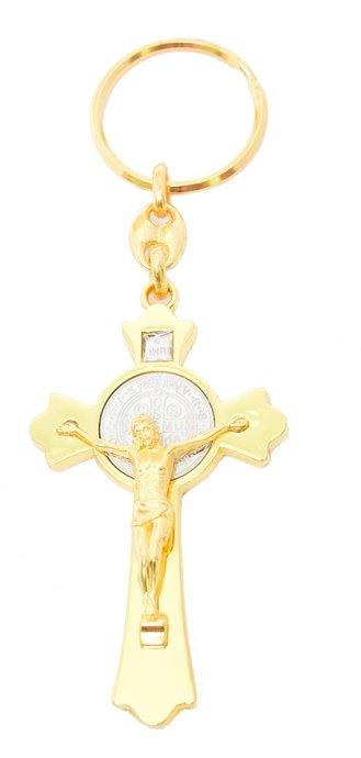 Chaveiro Crucifixo de São Bento - Dourado