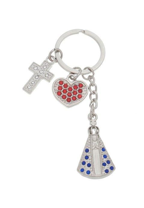 Chaveiro de Nossa Senhora Aparecida com cruz e coração e detalhes em strass