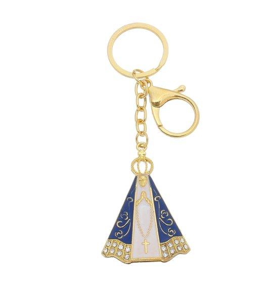 Chaveiro Nossa Senhora Aparecida com strass e mosquete dourado