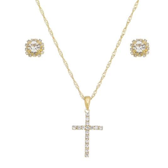 Colar Crucifixo e Brinco ponto de luz folheado e com strass