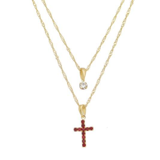 Colar duplo Crucifixo com Strass Rubi e Ponto de Luz