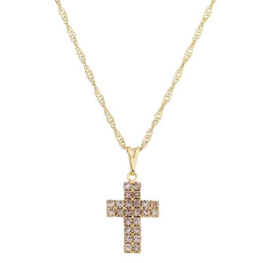 Colar Crucifixo com strass - folheado