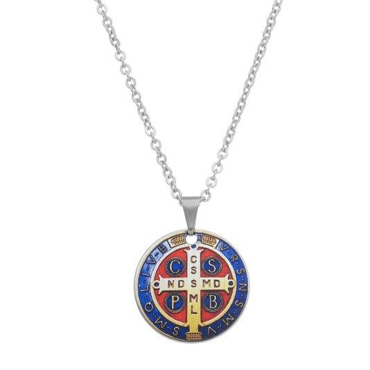 Colar medalha de São Bento em inox
