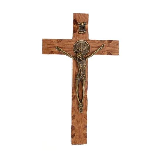 Crucifixo de madeira de mão - 17cm