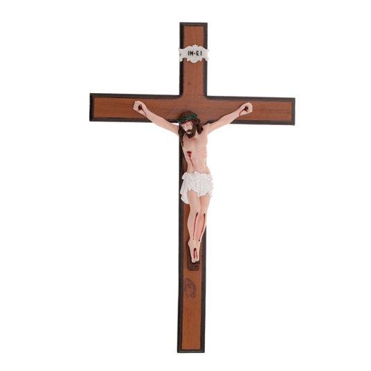 Crucifixo de madeira para parede com Cristo em resina - 50cm