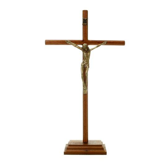 Crucifixo de mesa arredondada fina - 29cm