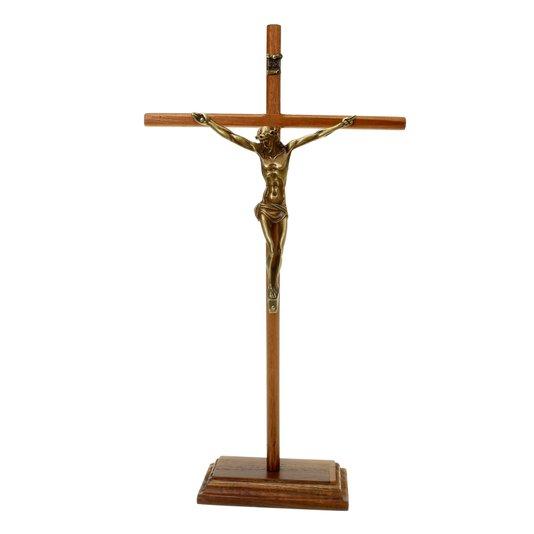 Crucifixo de mesa arredondada fina - 35cm