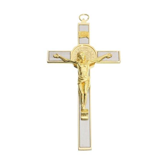 Crucifixo de parede São Bento - Dourado 17,5cm