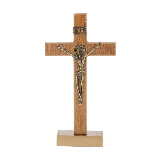 Crucifixo de São Bento em MDF - marrom  18cm