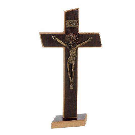 Crucifixo de São Bento em MDF - tabaco  28cm