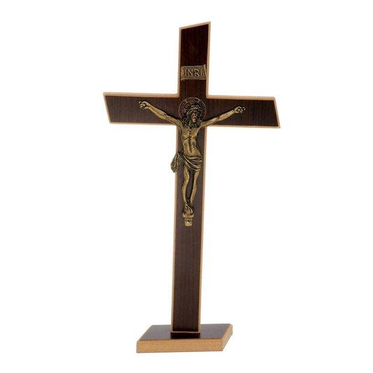 Crucifixo de São Bento em MDF - tabaco  38cm