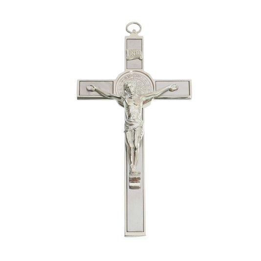 Crucifixo de São Bento luxo 22.5cm - prata