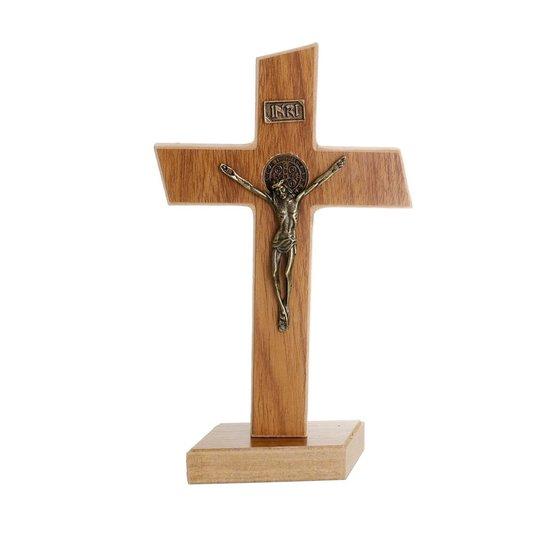 Crucifixo de São Bento em MDF - Marrom  21,5cm