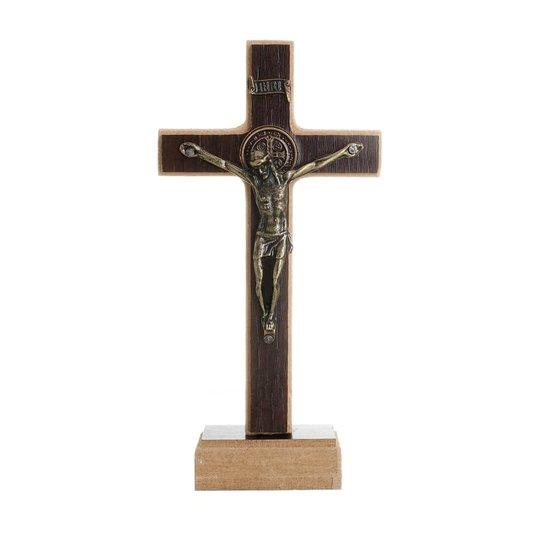 Crucifixo de São Bento em MDF - Tabaco 12cm