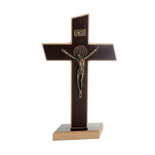 Crucifixo de São Bento tabaco em mdf 20cm