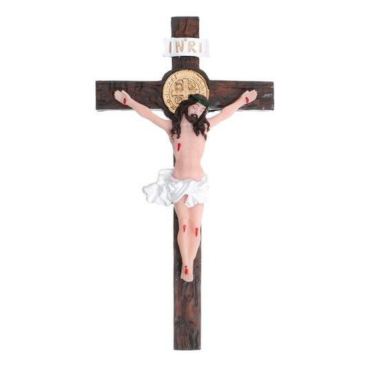 Crucifixo em resina com medalha de São Bento - 25,5cm