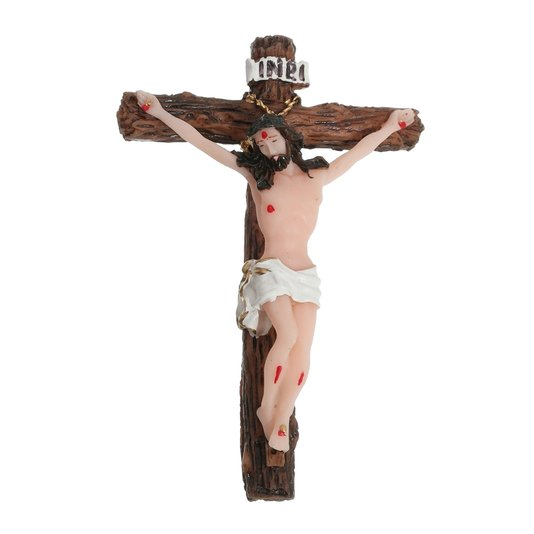 Crucifixo de parede em resina - 10cm