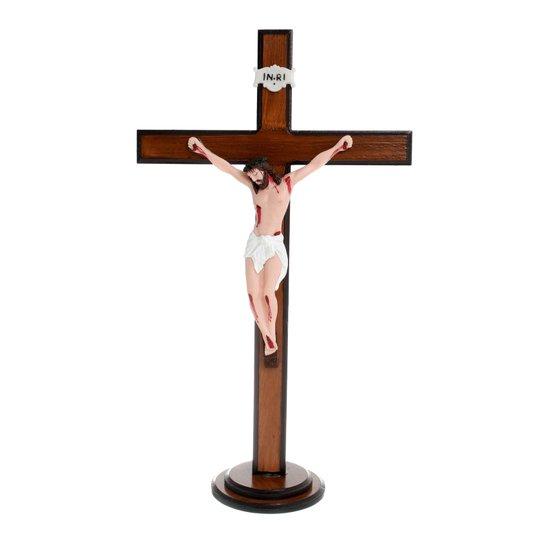 Crucifixo para mesa com Cristo em resina - 52cm